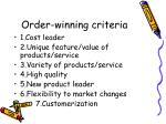 order winning criteria