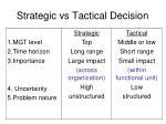strategic vs tactical decision