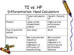 ti vs hp differentiation hand calculators