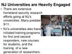 nj universities are heavily engaged