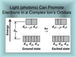 light photons can promote electrons in a complex ion s orbitals