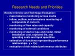 research needs and priorities