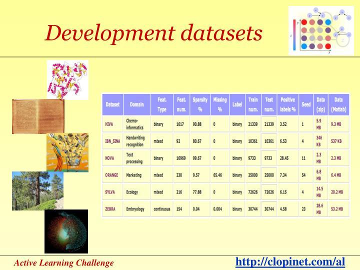 Development datasets