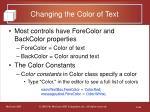 changing the color of text