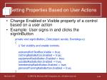 setting properties based on user actions