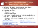 setting the checked property of radio buttons and check boxes