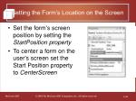 setting the form s location on the screen