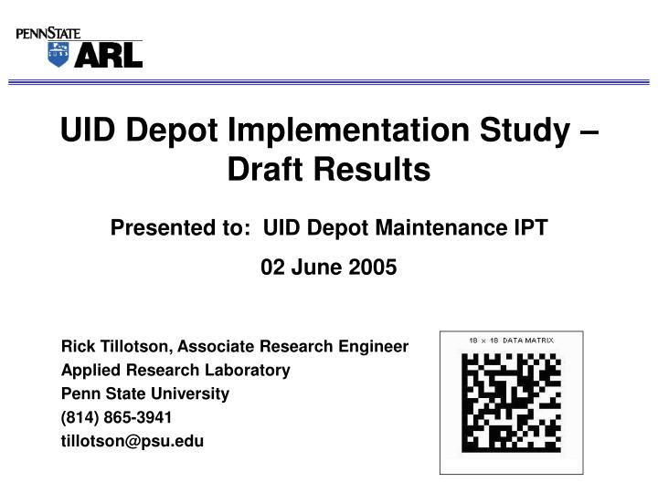 uid depot implementation study draft results n.