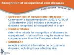 recognition of occupational skin diseases