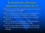 evaluation des diff rentes dimensions de l estime de soi