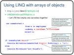 using linq with arrays of objects
