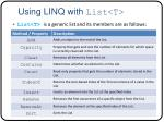 using linq with list t