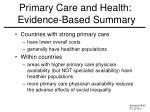 primary care and health evidence based summary