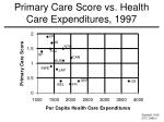 primary care score vs health care expenditures 1997