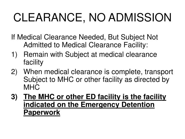 CLEARANCE, NO ADMISSION