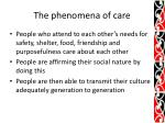 the phenomena of care1
