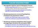 tujuan kegiatan p3bm