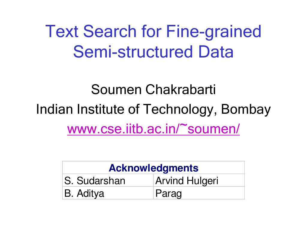 text search for fine grained semi structured data l.