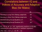 correlations between iq and indices of accuracy and adaptive bias for males