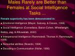 males rarely are better than females at social intelligence tasks