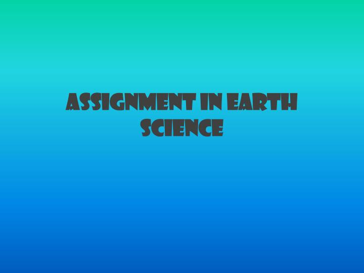 assignment in earth science n.