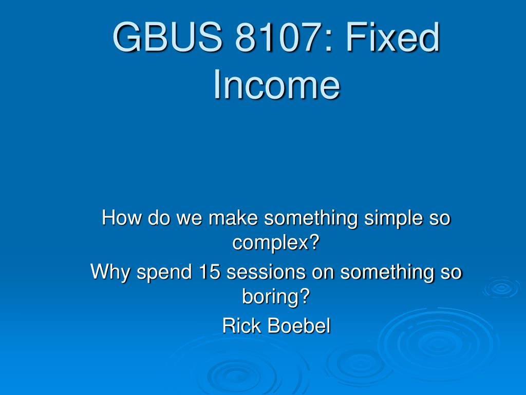 gbus 8107 fixed income l.