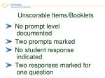 unscorable items booklets