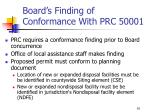 board s finding of conformance with prc 50001
