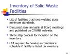 inventory of solid waste facilities