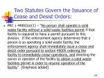two statutes govern the issuance of cease and desist orders