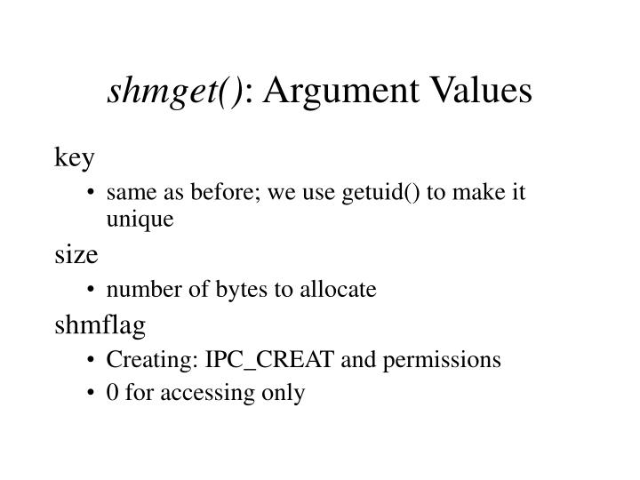 shmget argument values n.