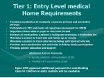 tier 1 entry level medical home requirements