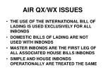 air qx wx issues