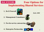 four options for implementing shared services