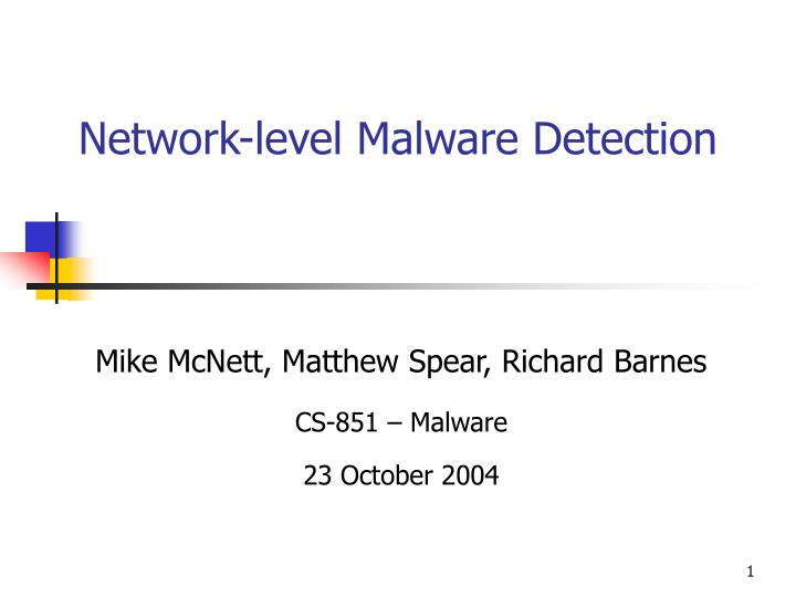 network level malware detection n.