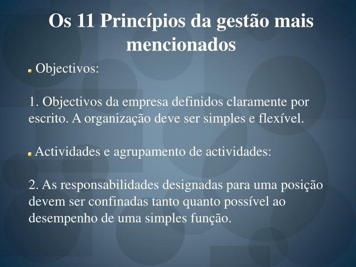 Os 11 Princípios da gestão mais mencionados