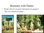 harmony with nature