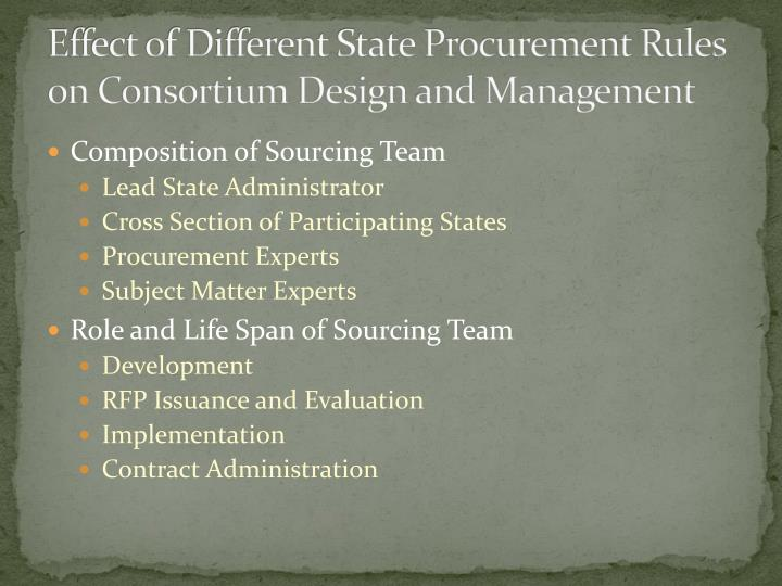 Effect of Different State Procurement Rules on Consortium Design and Management