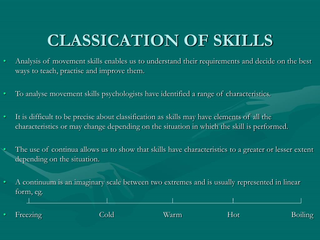 classication of skills