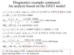diagnostics example continued an analysis based on the g g 1 model