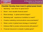 a checklist for developing global asian brands