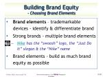 building brand equity choosing brand elements