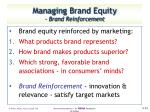 managing brand equity brand reinforcement