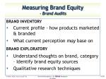 measuring brand equity brand audits1