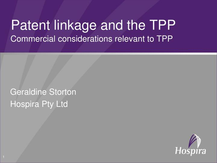 patent linkage and the tpp n.