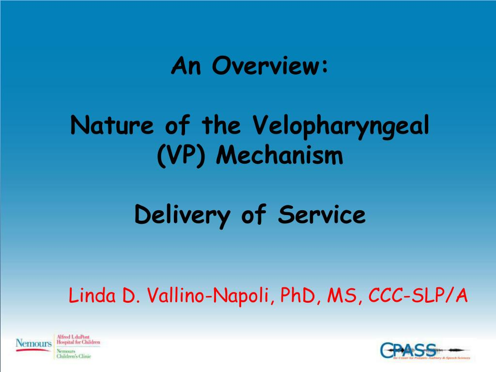 an overview nature of the velopharyngeal vp mechanism delivery of service l.