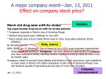 a major company event jan 13 2011 effect on company stock price