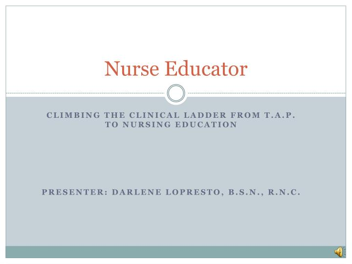 nurse educator n.