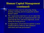 human capital management continued