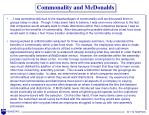 commonality and mcdonalds